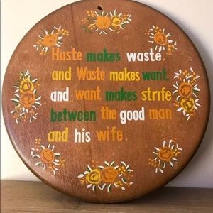 Vintage round wood wall plaque